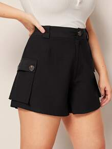 Plus Button Waist Dual Pocket Utility Shorts