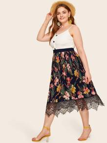 Plus Lace Panel Floral Print Pleated Skirt