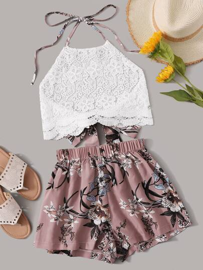 ac74ec2bde237 Floral Print Tie Back Halter Lace Top With Shorts