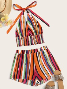 Plus Rainbow Stripe Shirred Halter Top With Shorts