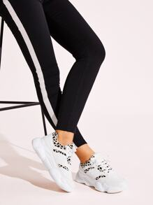 Lace-up Front Leopard Pattern Sneakers