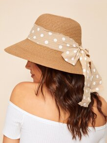 Polka Dot Bow knot Decor Straw Hat