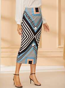 Geometric Print Zip-back Midi Skirt