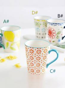 Flower & Lemon Print Cup 1pc
