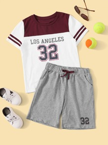 Boys Varsity Print Top & Slant Pocket Shorts Set
