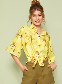 Tropical Print Tie Hem Hawaii Blouse