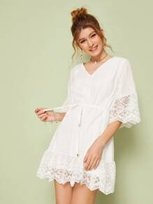 Contrast Lace Eyelet Embroidery Self Tie Dress