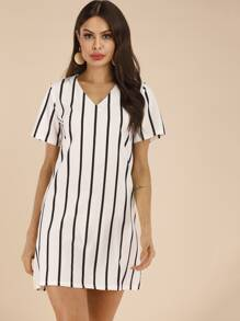 Striped V-neck Tunic Dress