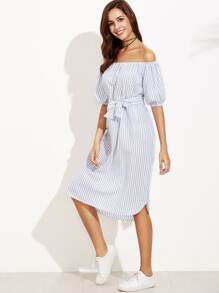 Off Shoulder Striped Belted Dress