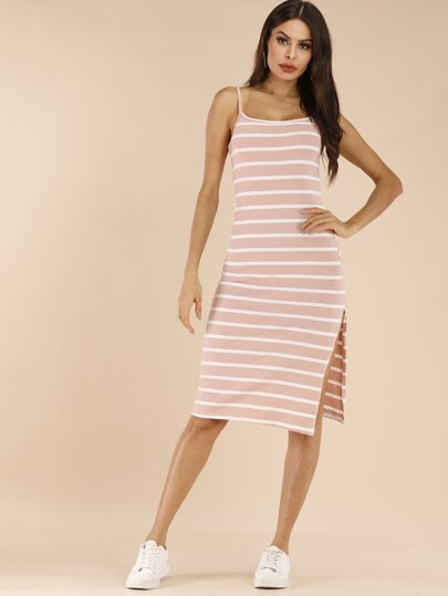 055fe19092 Striped Split Side Cami Dress
