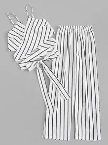Plus Striped Knot Cami Top With Pants
