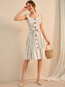 Button Front Ruffle Trim Self Tie Dress