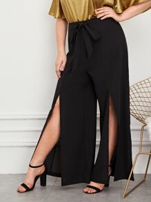 Plus Tie Front Split Thigh Wide Leg Pants