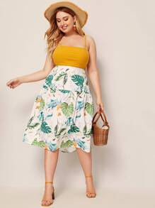 Plus Tropical And Bird Print Skirt