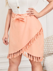 Plus Solid Fringe Tulip Hem Belted Skirt