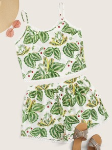 Plus Tropical Print Cami Top With Shorts