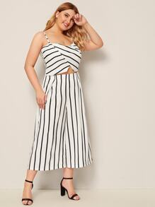 Plus Striped Cami Top With Wide Leg Pants