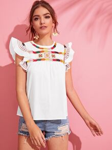 Butterfly Sleeve Embroidered Smock Top