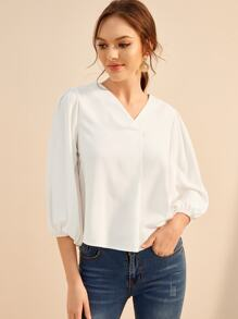 Solid Bishop Sleeve Blouse