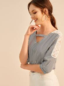 Contrast Lace Keyhole Neck Striped Blouse