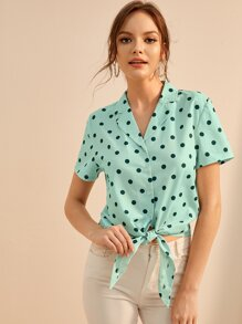 Polka Dot Knot Hem Button Front Blouse