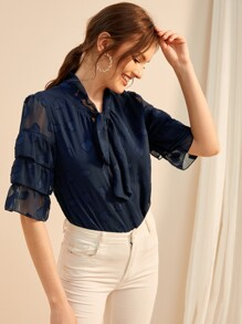 Layered Sleeve Tie Neck Embroidered Blouse