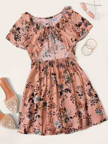 Botanical Print Tie Cutout Front Ruffle Dress