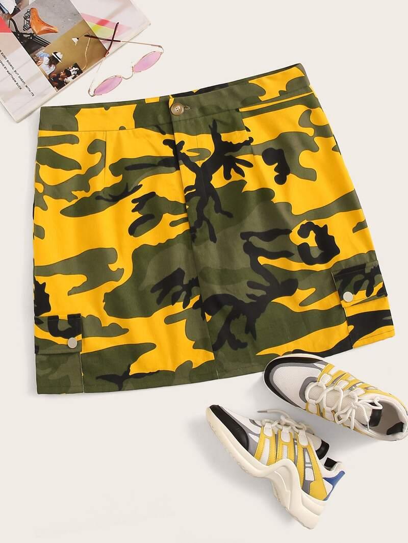 Plus Camo Print Flap Pockets Cargo Denim Skirt by Romwe