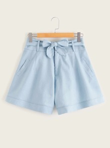 Plus Solid Slant Pockets Belted Denim Shorts