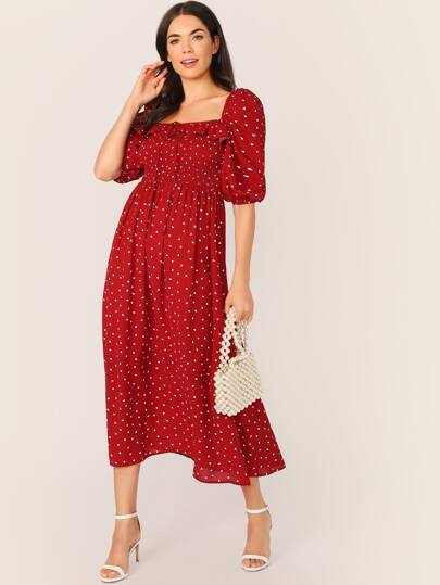 Tie Neck Puff Sleeve Shirred Bodice Heart Print Dress