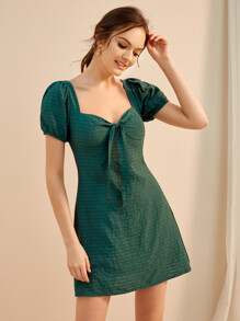 Solid Tie Front Puff Sleeve Dress