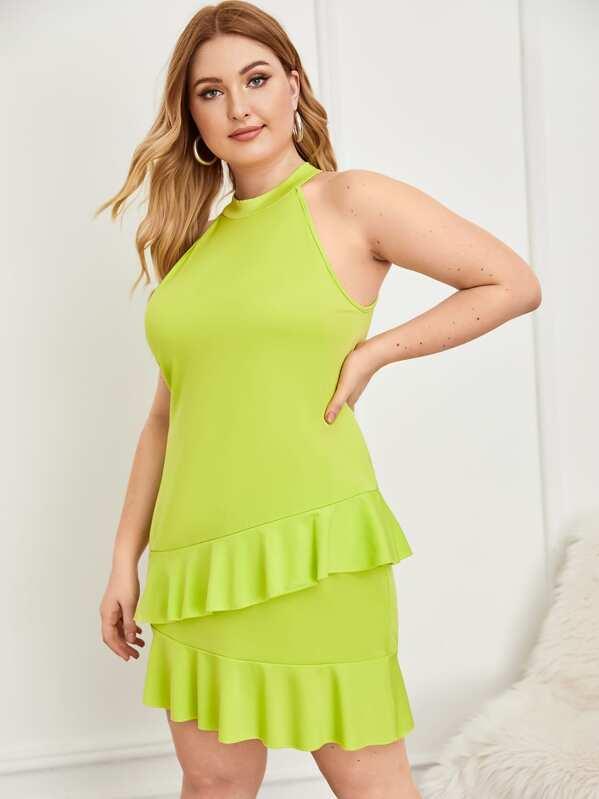 Plus Neon Lime Ruffle Trim Halter Dress