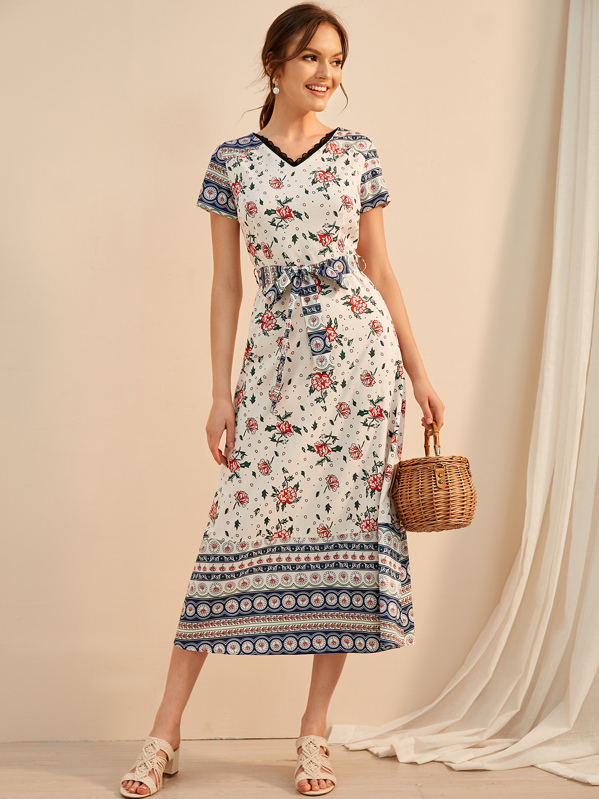 74e89c6773 Tribal Print Contrast Lace Belted Dress
