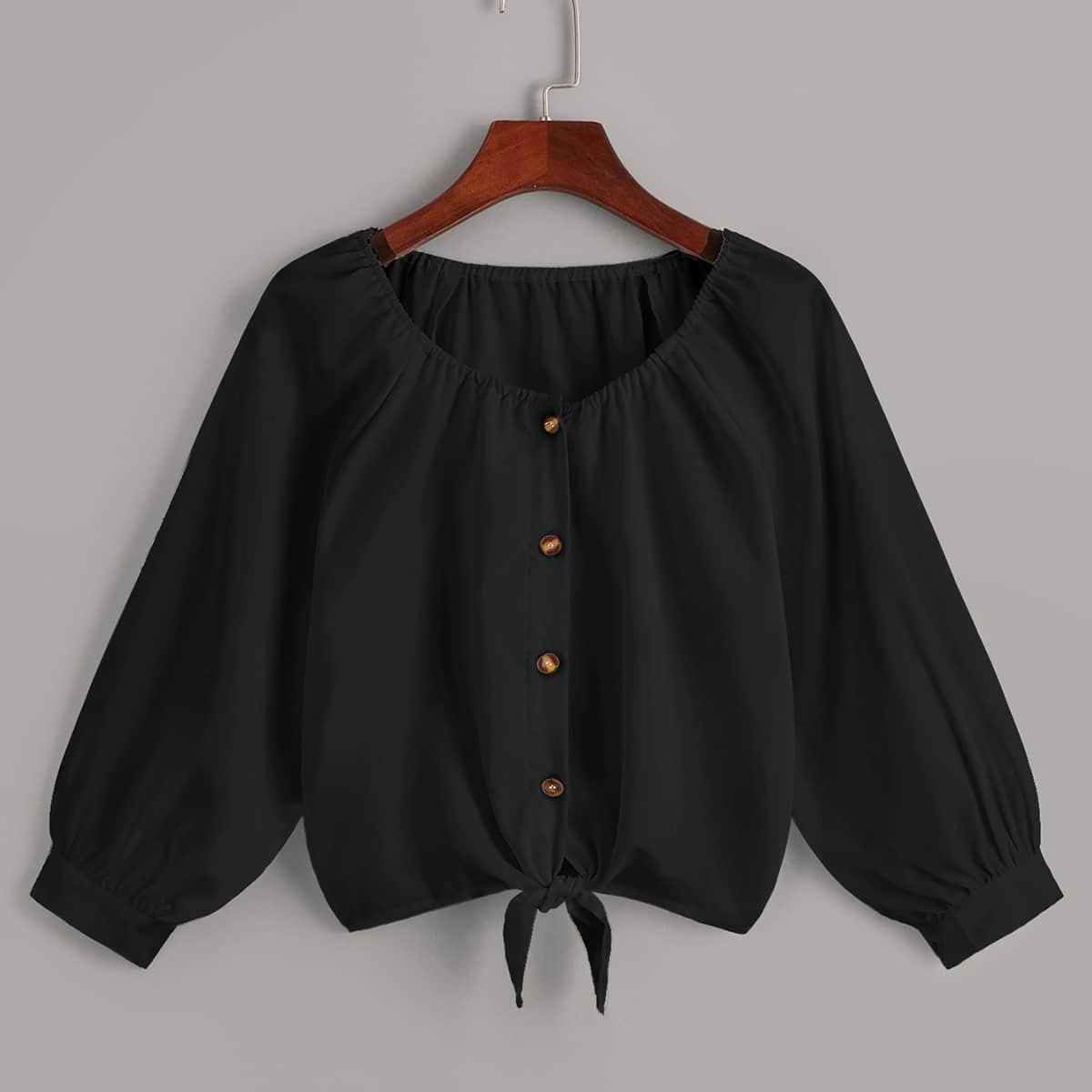 Блуза с пуговицами и узлом