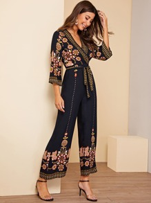 Surplice Wrap Floral Belted Wide Leg Jumpsuit