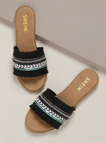 Fringe And Sequin Band Flat Slide Sandals