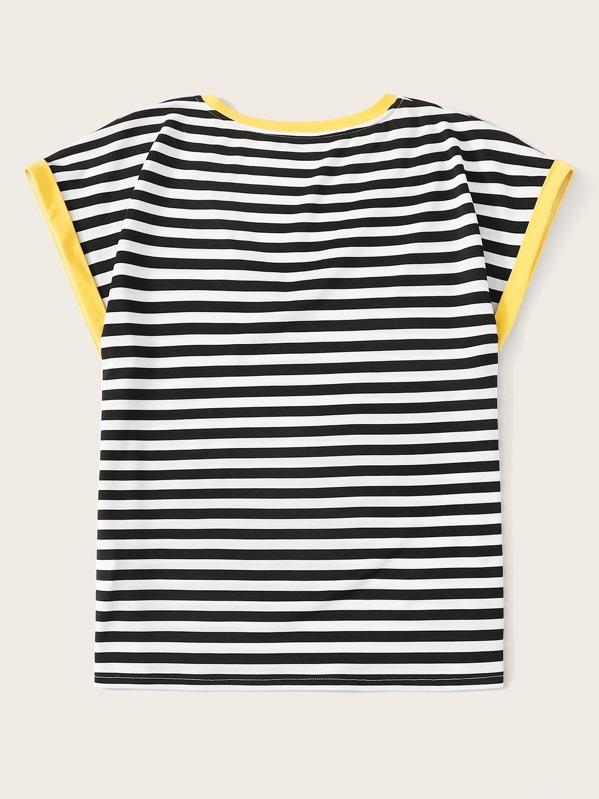 af6ff21e68 Pocket Patched Striped Ringer Tee | SHEIN