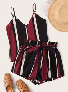 Colorful Striped Cami & Paperbag Waist Belted Shorts Set