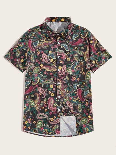 ecc764a94 Men Tribal And Floral Print Shirt