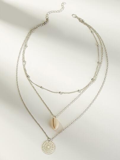 b819e6c771c3 Collar de cadena a capas con concha y moneda 1 pieza