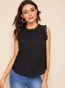 Guipure Lace Panel Pleated Blouse