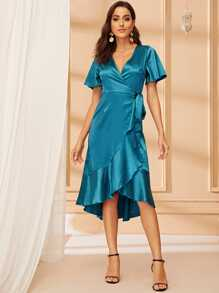 Ruffle Hem Knot Side Satin Wrap Dress