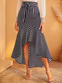Striped Belted High Low Skirt