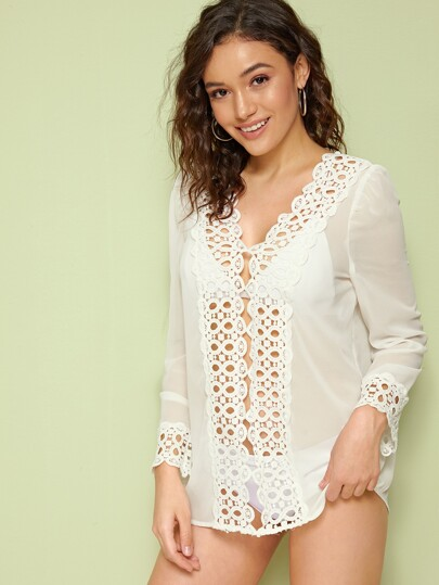 96a68013a48c4 Solid Guipure Lace Insert Sheer Cover Up