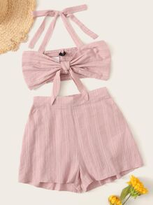 Solid Knotted Front Shirred Halter Top & Shorts Set