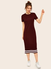 Striped Sheath Tee Dress