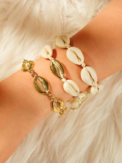 fa8f541598e9 Shell Decor Chain Armband 3st