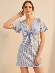 Tie Front Gingham Print Dress