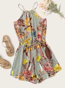 Plus Floral Print Striped Drawstring Waist Cami Playsuit