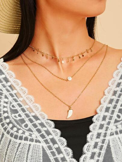 aa91d3c58068 Collar de cadena a capas colgante de cuerno y estrella 1 pieza